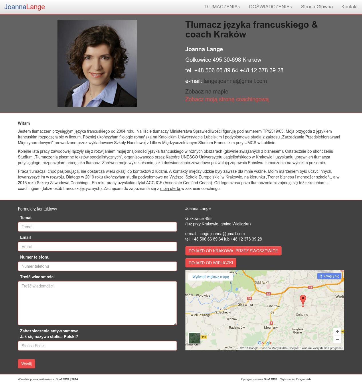 Strona www dla tłumaczki
