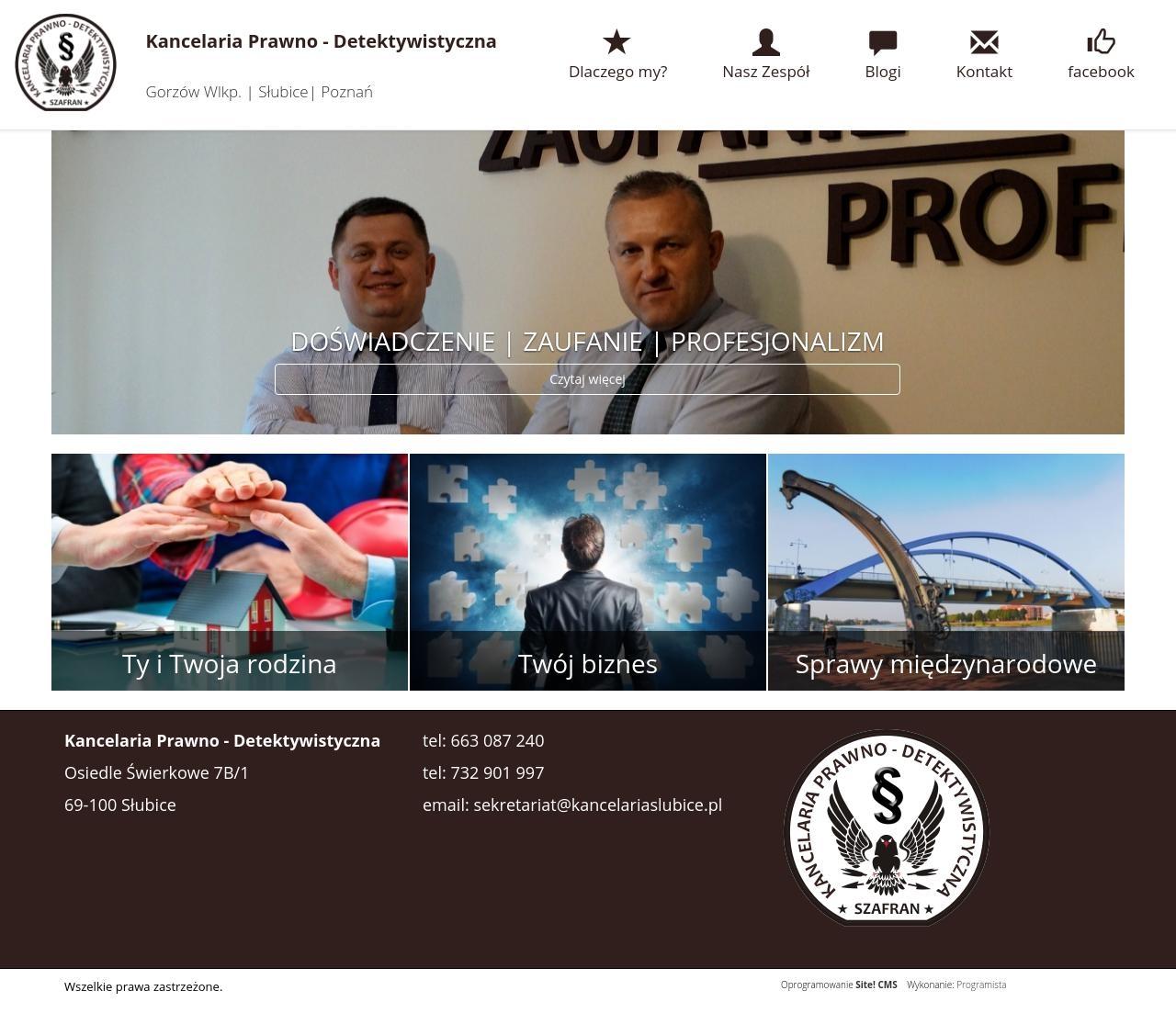 Strona www dla kancelarii prawno-detektywistycznej