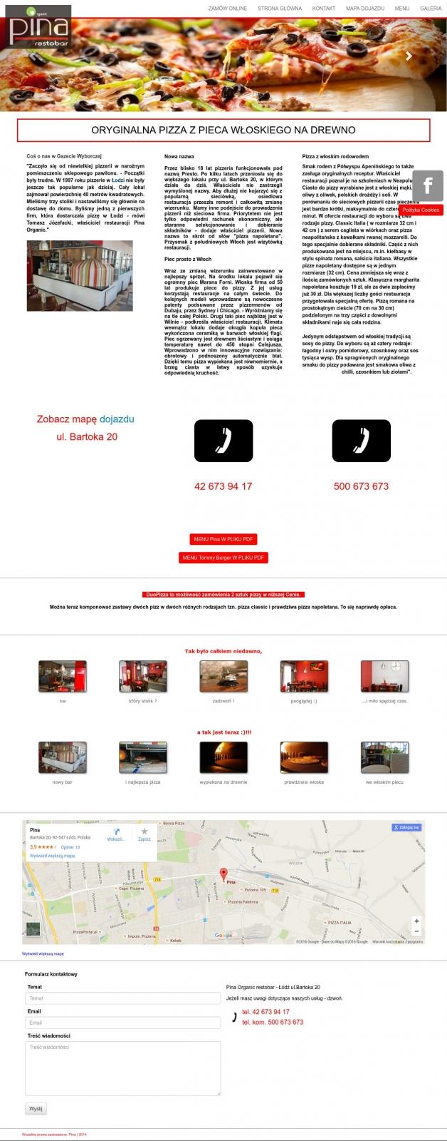 Strona www dla pizzerii wraz z systemem zamówień