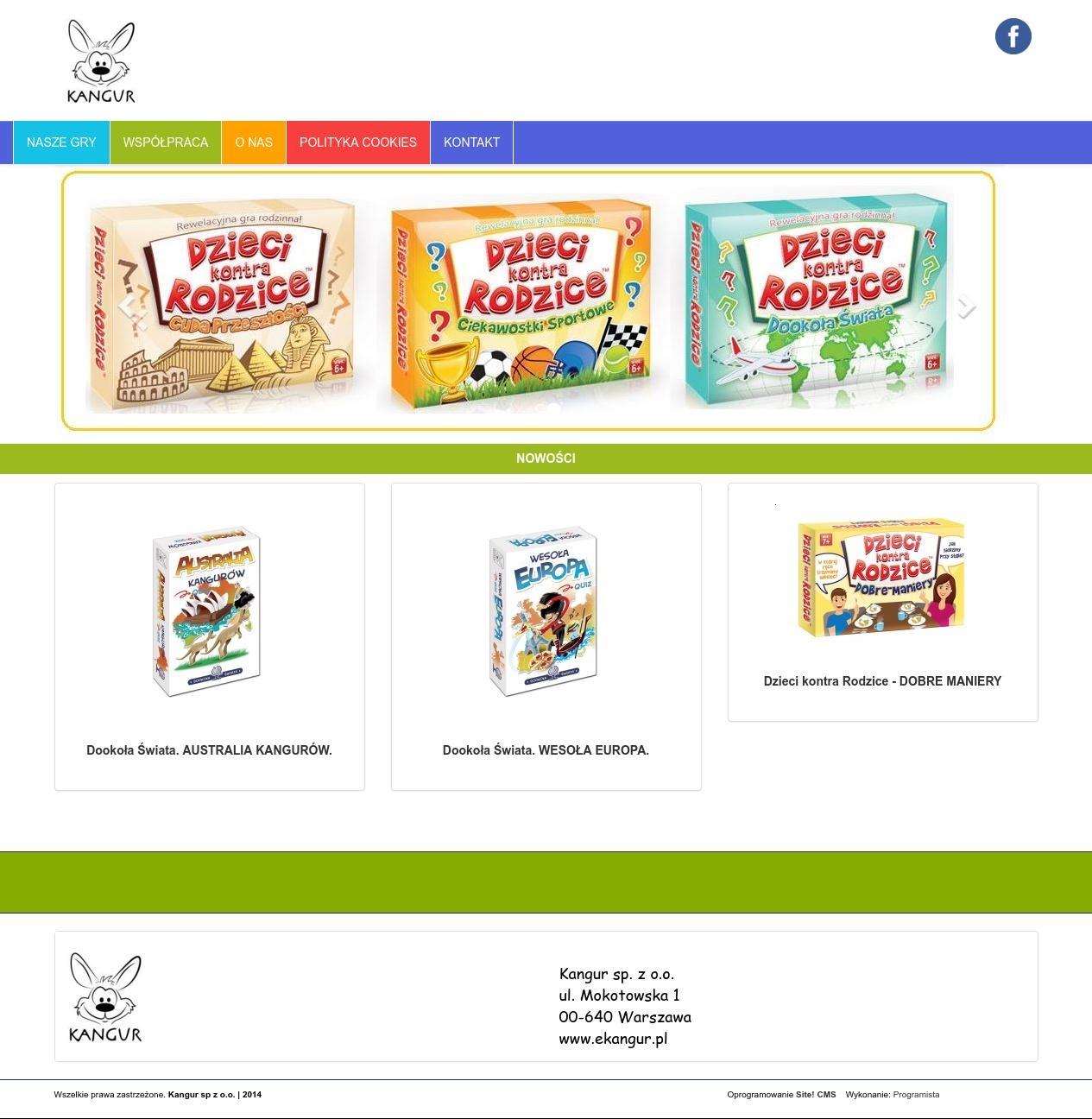 Strona www z katalogiem produktów
